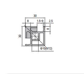 Clamping Profile PG30 30x30 2 Clamping slots Cross (1.21.30.030030.02C)