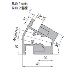 Clamping Profile PG40 R30 2 Clamping slots (1.21.40.040040.R30)