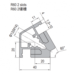 Clamping Profile PG40 R60 2 Clamping slots (1.21.40.040040.R60)