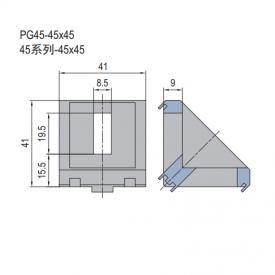 DIE CAST BRACKET-PG45-45X45 (SET K) (3.21.45.4545.STK)
