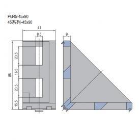 DIE CAST BRACKET-PG45-45X90 (SET J) (3.21.45.4590.STJ)