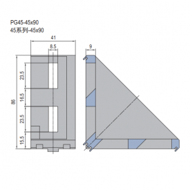 DIE CAST BRACKET-PG45-45X90 (SET K) (3.21.45.4590.STK)