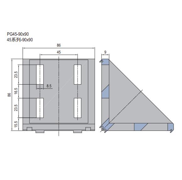 DIE CAST BRACKET-PG45-90X90 (SET J) (3.21.45.9090.STJ)
