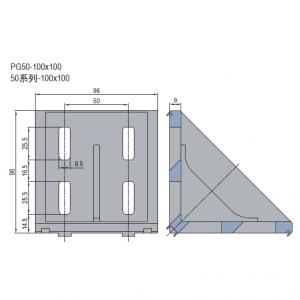 DIE CAST BRACKET-PG50-100X100 (PC) (3.21.50.100100)