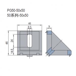 DIE CAST BRACKET-PG50-50X50 (PC) (3.21.50.5050)
