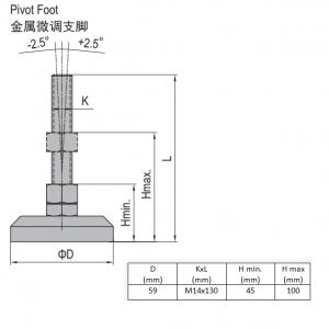 PIVOT FOOT-PA6 BASE 59  M14X130 (5.21.60.14.130)