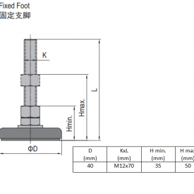 FIXED FOOT-STEEL BASE 40  M12X70 (5.23.40.12.70)