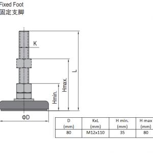 FIXED FOOT-STEEL BASE 80  M12X110 (5.23.80.12.110)