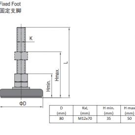 FIXED FOOT-STEEL BASE 80  M12X70 (5.23.80.12.70)