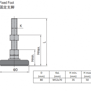 FIXED FOOT-STEEL BASE 80  M12X70 (5.23.80.12.70)
