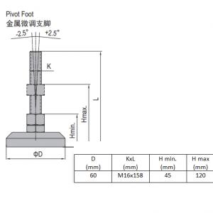 PIVOT FOOT-ZINC PLATED STEEL  60  M16X158 (5.24.60.16.160)