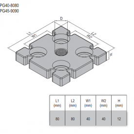 MOUNTING PLATE-PG40-80X80 M12  ZINC-ALLOY (5.33.40.8080.M12)