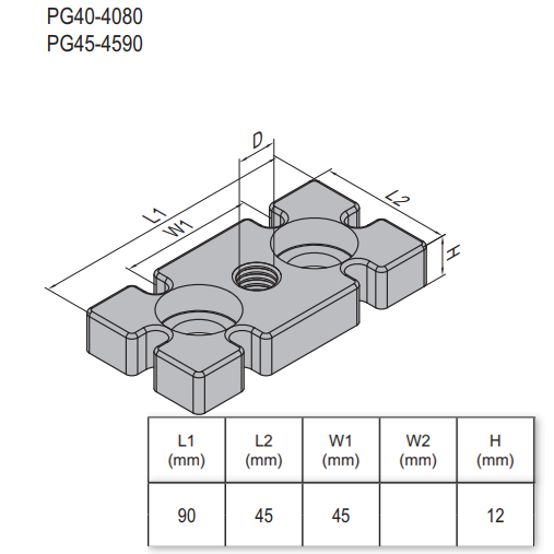 MOUNTING PLATE-PG45-45X90 M16  ZINC-ALLOY (5.33.45.4590.M16)
