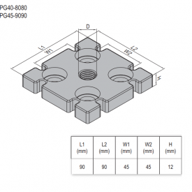 MOUNTING PLATE-PG45-90X90 M12  ZINC-ALLOY (5.33.45.9090.M12)