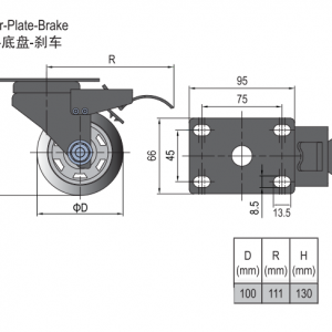 CASTOR PLATE-BRAKE 100 (5.41.100B)