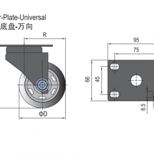 CASTOR PLATE-UNIVERSAL 100 (5.41.100U)