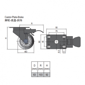 CASTOR PLATE 5.41.63B