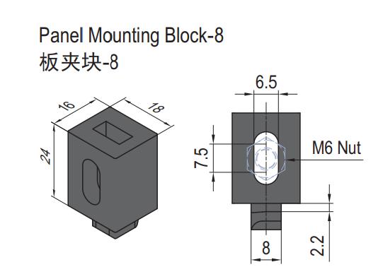 PANEL MOUNTING BLOCK-8 (SET) (6.21.08.ST)