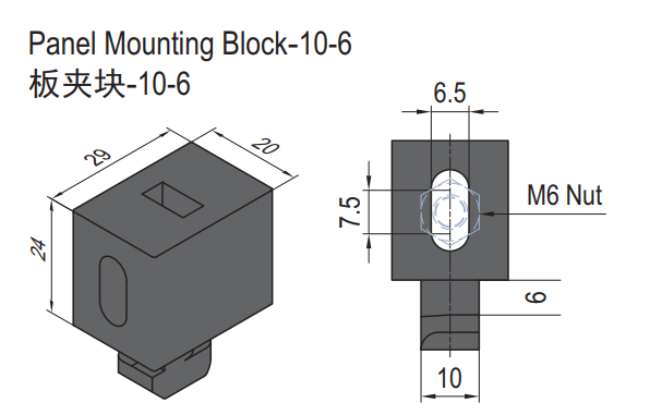 PANEL MOUNTING BLOCK-10-6 (SET) (6.21.10.06.ST)