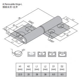 HINGE-40/45-LEFT (SET) (7.26.40.45.ST)