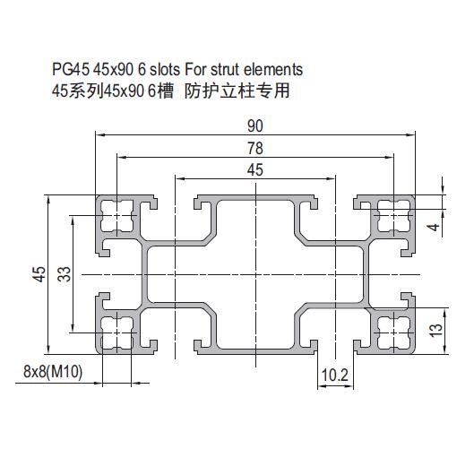 PG45 45x90 6 SLOTS FOR STRUT ELEMENT (1.42.45.045090.06.SE)