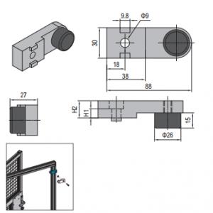 BUFFER BLOCK FOR SWING DOOR PG30 (PNDH30.BB)