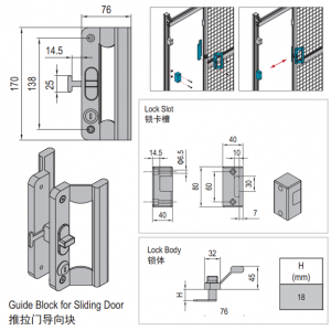 LOCK FOR SLIDING DOOR OF PROTECTIVE GRILLE UNIT-PG30 (PNDS30.LK)