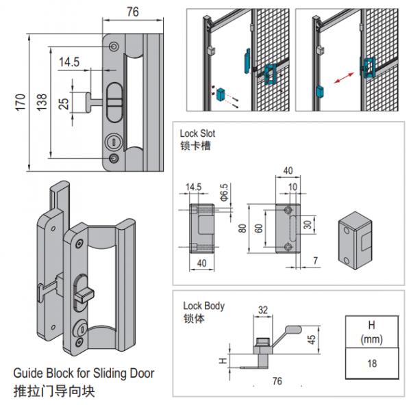 LOCK FOR SLIDING DOOR OF CLAMPING PROFILE-PG30 (PPDS40.LK)