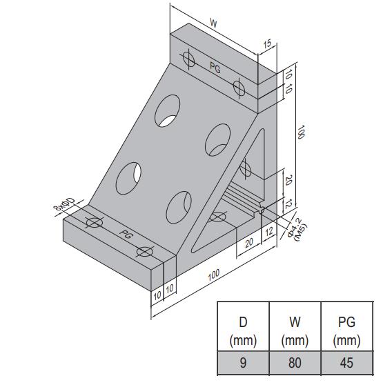 AP BRACKET 100X100-PG45-90 (PC) (3.31.100.45.90)