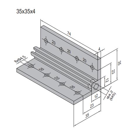 AP BRACKET 35X35-PG20-80 (SET) (3.31.35.20.80.ST)