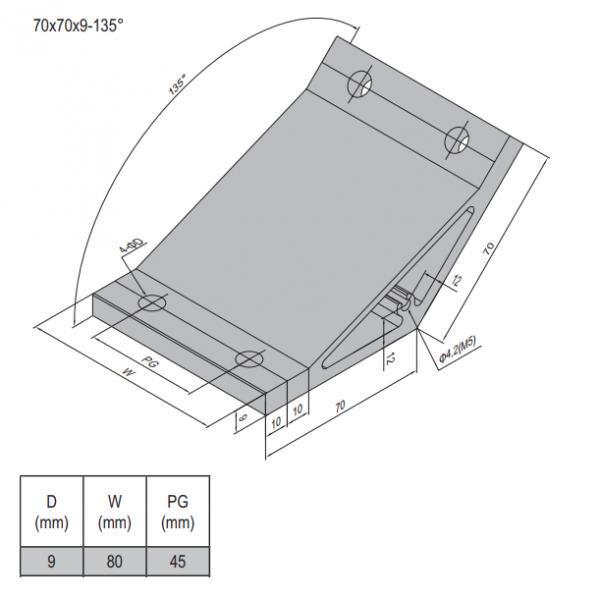 AP BRACKET 70X70-PG45-90 (PC) (3.31.70.45.90)