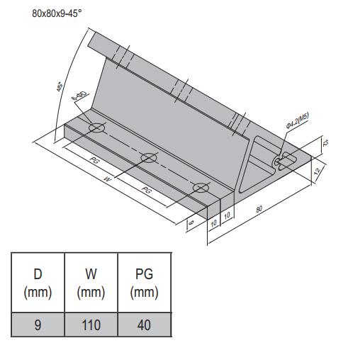 AP BRACKET 80X80-PG40-120 (M5 SET) (3.31.80.40.120.M5.ST)
