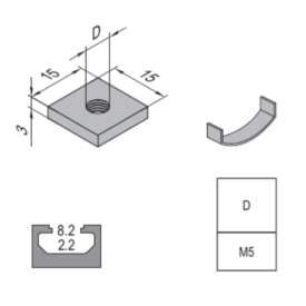 Modular Assembly Square Nut